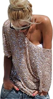 YOLI Women's Off Shoulder Sequin Glitter Sparkle Party Top Blouse Shirt Plus Size with Sleeve Gold