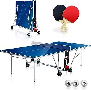 AHPONEX Tavolo da ping pong allaperto gioco di ping pong retrattile 2 racchette, 4 palline, una borsa e una rete retrattile resistente rete da ping pong