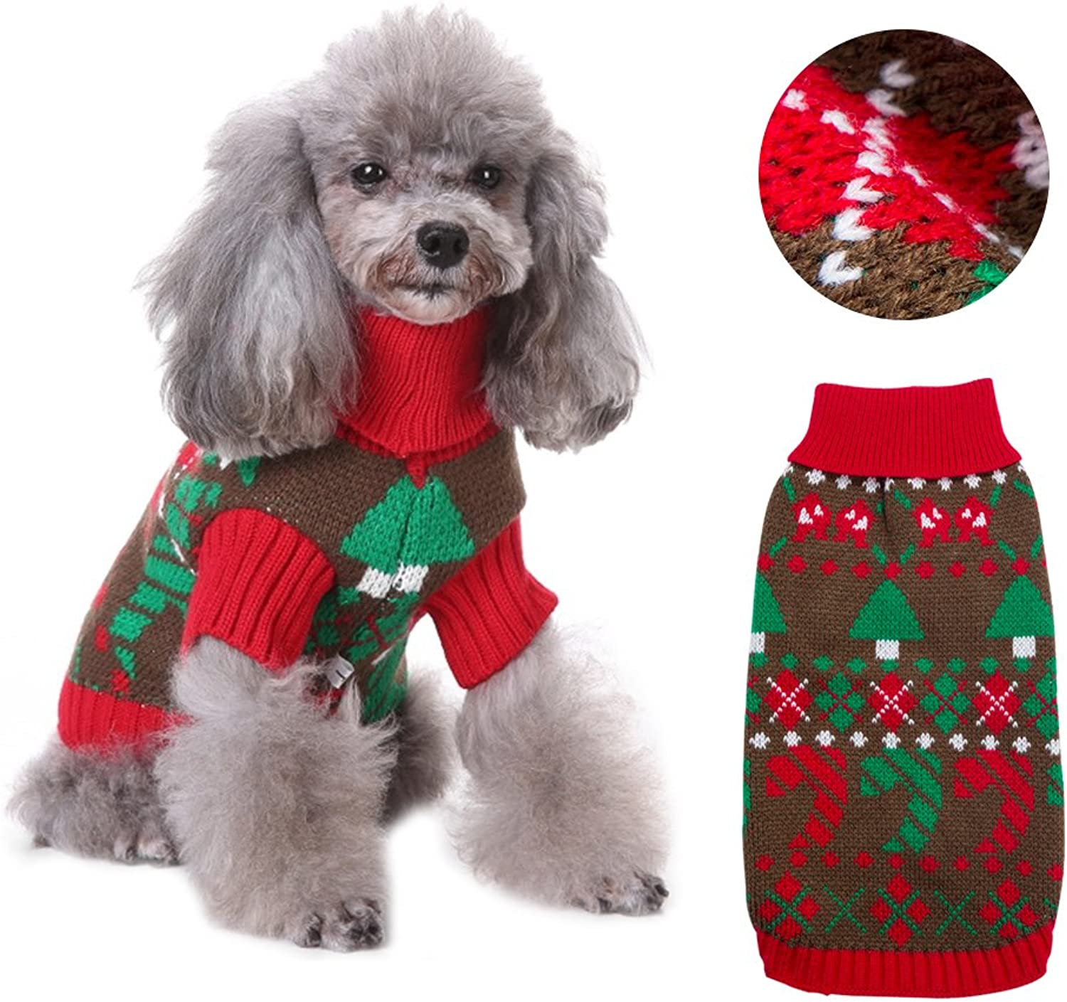 RuoShui Pet Red Sweater Vintage Christmas Holiday Coat Sweater Costumes Pet Dog Cat Apparel Christmas Party Pet Clothes for Cat Dog (M)