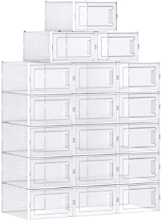 SONGMICS Shoe Boxes, Pack of 18 Stackable Shoe Storage Organizers, Foldable and Versatile for Sneakers, Fit up to US Size 9.5, Transparent and White ULSP18MWT