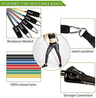 23 Pack Resistance Bands Set Workout Bands, 5 Stackable Exercise Bands 5 Loop Resistance Bands 2 Core Sliders – Door ...