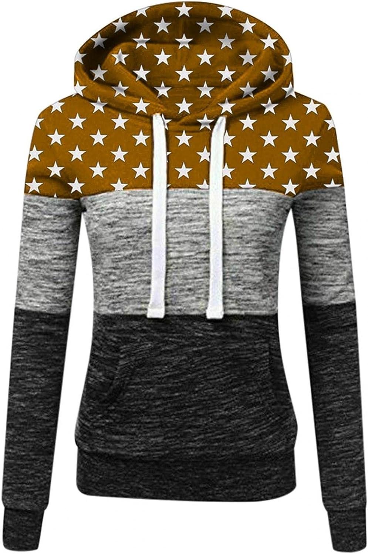 COMVALUE Womens Hoodies Pullover,Color Block Star Printed Long Sleeve Hoodie Sweatshirts Casual Drawstring Shirts