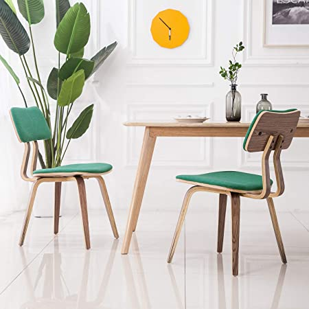 YEEFY Fabric Dining Room Chairs Mid Century Dining Chair Upholstered Chairs, Set of 2(Green