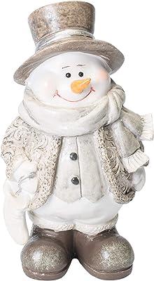 Napco Imports Bundled Up Snowman Silvertone 7 Inch Resin Winter Decorative Tabletop Figurine