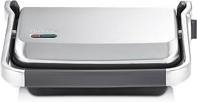Sunbeam GR8250B Compact Cafe Press | 2000W | 2 Slice Sandwich Press | Non-Stick Plates | Stainless Steel/Black