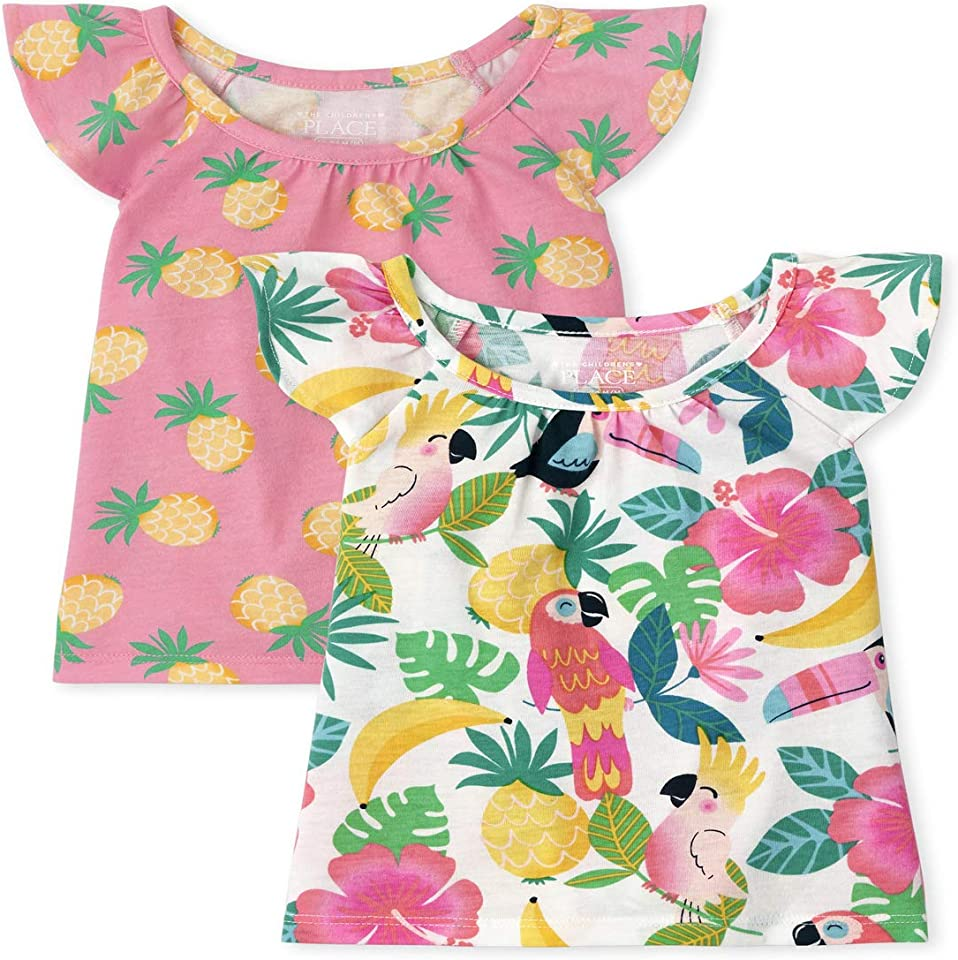 The Children's Place Toddler Girls Print Ruffle Tank Top 2-Pack