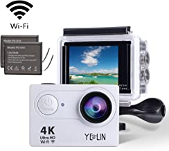 YELIN Action Camera 4K WiFi Waterproof Sport Camera HD 12MP Camcorder 170 Degree Lens with 2-inch LCD Screen 2 Rechargeable Li-ion Batteries Mounting Accessory Kits (Silver)