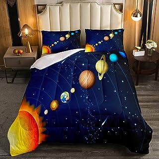 Erosebridal Boys Outer Space Bedding Set, Kids Galaxy Nebula Comforter Set Queen Size, Starry Sky Cosmos Down Comforter fo...