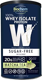 Biochem 100% Whey Isolate Protein - 10.5 Ounce - Matcha Tea Flavor - Antioxidants - Keto-Friendly - Amino Acids - Postworkout - Immune Health - Easy to Mix - Meal Replacement