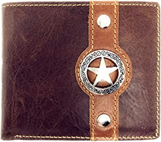 Texas West Tooled Lone Star Genuine Glossy Leather Men's Wallet in 3 Colors