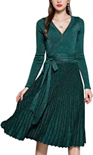 Women's Autumn Long Sleeve V Neck Elegant Knitted Slim Knee-Length A-Line Sweater Dress