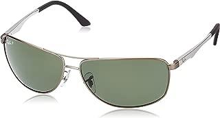 RAY-BAN Men's RB3506 Rectangular Metal Sunglasses, Matte Gunmetal/Polarized Green, 64 mm