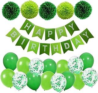 MAKFORT MAKFORT Geburtstagsdeko Grün Happy Birthday Girlande mit Pompoms und Luftballons Grün Konfetti Luftballons für Geburtstag Partydeko
