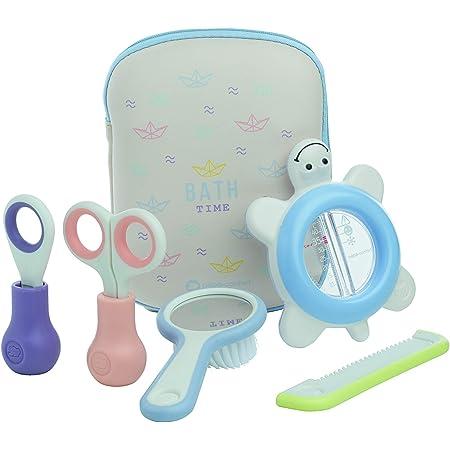 Bébé Confort - Neceser de aseo para bebés, incluye termómetro + tijeras + cortaúñas + peine + cepillo para bebés, Multicolor