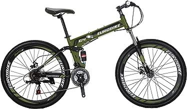 "Eurobike 26"" Full Suspension Mountain Bike 21 Speed Folding Bicycle Men or Women MTB"