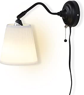 Contemporary Wall Lamp Sconce with Free Bulbs (Black/White)