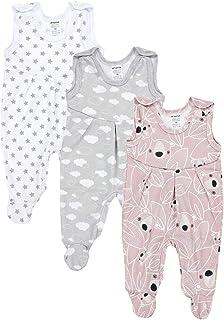 TupTam Baby Mädchen Strampler mit Fuß 3er Pack