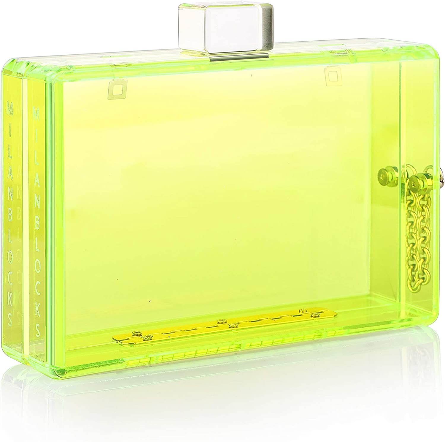Neon Transparent Clear Acrylic Plastic Hard Party Clutch Purse