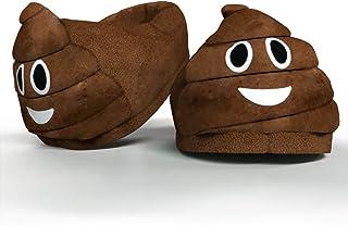 Desire Deluxe Chaussons Emoticon Poo Rigolo en Forme de Crotte – Pantoufles intérieur d'hiver peluche smiley – Taille univ...