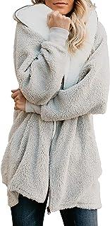 معطف Yanekop نسائي كبير الحجم من الصوف الوبري سترة بسحاب من الخارج مع جيوب