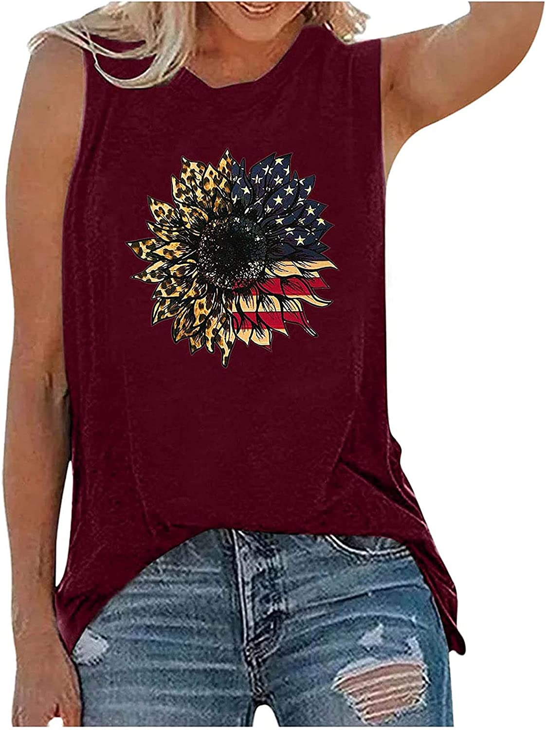 Pisexur Womens Plus Size Tops Independence Day S Crewneck Sale Industry No. 1 SALE% OFF T Tank