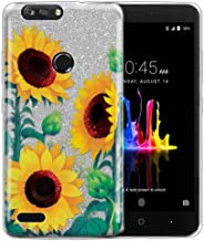 FINCIBO Case Compatible with ZTE Blade Z Max Z982/ Sequoia, Shiny Sparkling Silver Bling Glitter TPU Protector Cover Case for Blade Z Max Z982 - Sunflower Portrait