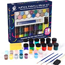 TBC The Best Crafts 28 Colors Acrylic Paint and Brush Set,Water-Reducible, Vibrant Colors , Educational Grade Arts and Cra...