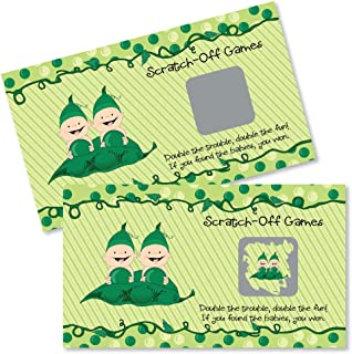 Big Dot of Happiness Twins Two Peas in a Pod - Baby Shower or Birthday Party Game Scratch Off Cards - 22 Count