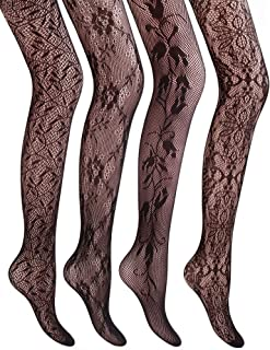 4 Styles Women Fishnet Tights Patterned Fishnets Stockings Small Hole