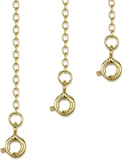 Amberta 925 Sterling Silver 2 mm Thick Curb Chain Extender Set for Women - Various Styles - Extension for Necklace Bracele...
