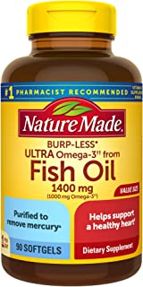 Nature Made Fish Oil Burp-Less Ultra Omega 3 1400 mg One Per Day, 90 Softgels Value Size, Fish Oil Omega 3 Supplement For ...