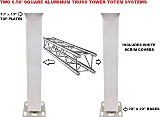 Two (2) Pair of Totem 2m 6.56ft Aluminum Square Truss Tower Base Scrim Included Vertical System
