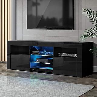 Artiss TV Unit 145cm Length LED High Gloss Entertainment Unit TV Stand Cabinet, Black