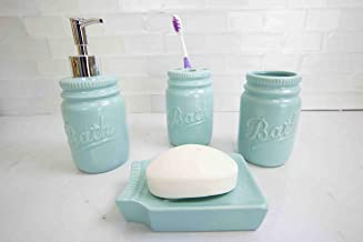 Home Basics (Mint Gift & Home Basics Beautiful Rose 4 Pcs Dolomite Mason Jar Durable..