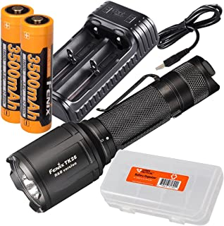 Image of Fenix TK25 R&B 1000 Lumen Multi-Color Red & Blue LED Tactical Hunting Flashlight with 2X 3500mAh Rechargeable Batteries, are-X2 Dual-Port Charger, LumenTac Battery Organizer