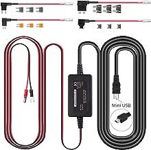 Hardwire Kit for Dash Cam with Mini, ATS, Micro2 Blade Fuses, Mini USB Port 12V 24V to 5V Dash Cam Hardwire Kit for Nextbase512G, 402G, 412,312GW, 302G, 212, 202, 101 15.5ft