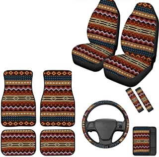 Aulaygo – Tapete para carro com proteção para assento de carro/capa de volante/caixa de descanso de braço/cinto de seguran...