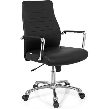 hjh OFFICE 720006 Chefsessel TEWA Kunstleder SchwarzChrom moderner Bürostuhl, niedrige Rückenlehne ergonomisch