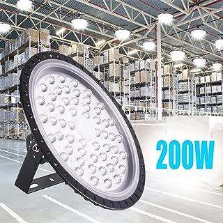Bikuer 200W UFO LED High Bay Light lamp Factory Warehouse Industrial Lighting 20000 Lumen 6000-6500K IP65 Warehouse LED Lights- Commercial Bay Lighting for Garage Factory Workshop Gym (200W 1pcs)