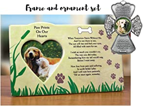 BANBERRY DESIGNS Pet Remembrance - Photo Frame and Picture Christmas Ornament for Dog - Memorial Poem Loss of Pet