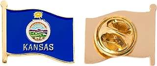 Kansas KS State Flag Lapel Pin Enamel Made of Metal Souvenir Hat Men Women Patriotic (Waving Flag Lapel Pin)