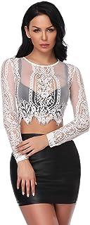 Abollria Damen Spitzen Shirt Sexy Transparent Netz Dekolleté Top Rundhals Party Oberteile Mesh Crop Top