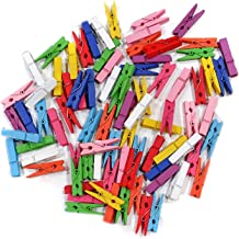 KRAFTMASTERS= 3.5cm Mini Wooden Clothes Photo Paper Peg Clothespin Craft Clips-60 Pieces (Multi)