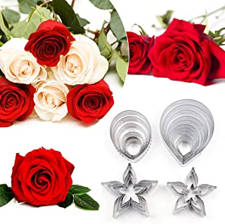 21Pcs Cake Cookie Cutters Pastry Mould Modelling Baking Tool Gumpaste Flower & the Easiest Rose Ever Cutter Cake Decoratin...