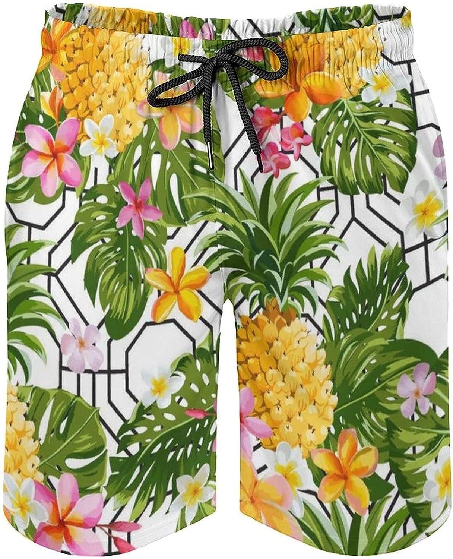 SWEET TANG Men's Quick Dry Swim Trunks Drawstring Waist Beach Pants Board Shorts with Mesh Lining (New Hawaiian Tropical Banana Tree Leaves Pineapple Flowers White)