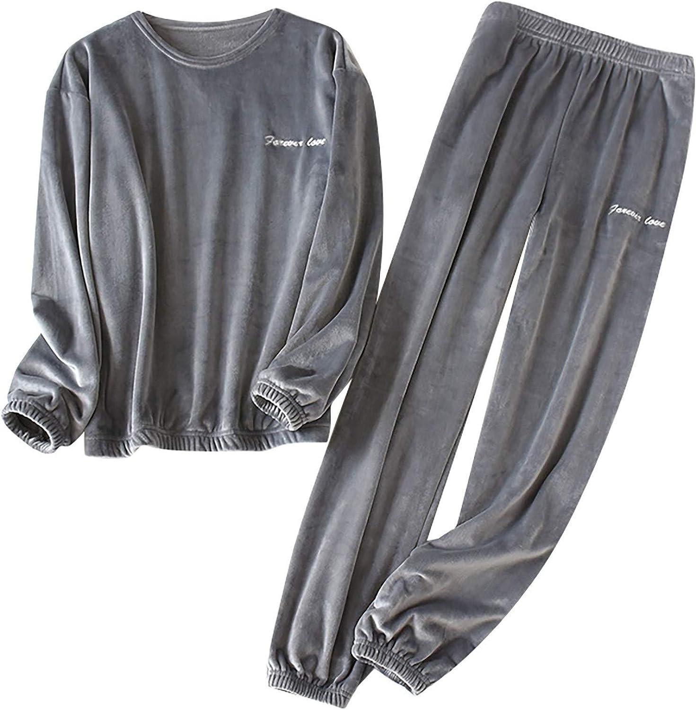 Men Outfit,Men's Thermal Fleece Thick Warm Pyjamas Suit Long Sleeve Casual Home Pyjama Set Night Wear