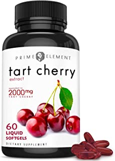 Tart Cherry Liquid Softgel Concentrate, Non-GMO, 2000mg, Packed with Antioxidants and Flavonoids - 60 Liquid Softgels