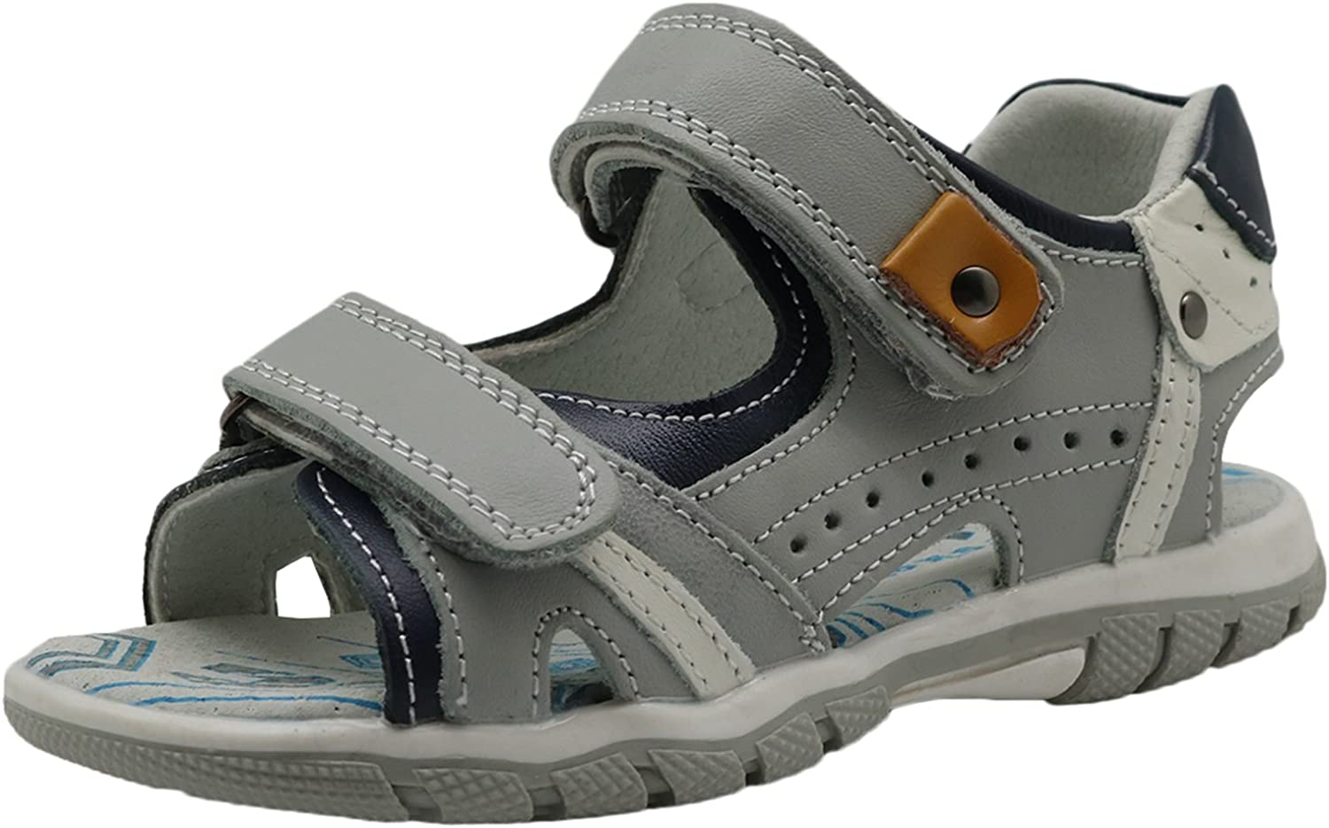 Boy's Double Adjustable Strap Leather Sandals with Arch Support (Toddler Kid) (color   Grey330, Size   11.5 M US Little Kid)