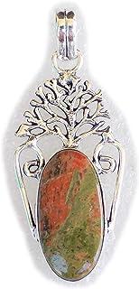 Unakite Pendant, Silver Plated Brass Pendant, Handmade Pendant, Gift Jewelry, Women Jewellry, Fashion Jewellry, BRS-12362
