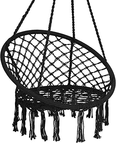 2021 Giantex Hammock Chair outlet online sale Macrame Swing, Cotton Rope Handwoven Hanging Chair 330 Pounds Capacity, Macrame Tassels Hammock Swing for C-Hammock Stand, Living Room, Yard, Garden, new arrival Balcony (Black) online sale